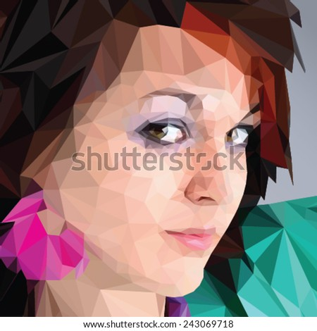 Beautiful woman portrait in triangle style - stock vector