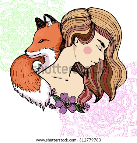 Beautiful woman portrait with a fox and flowers.