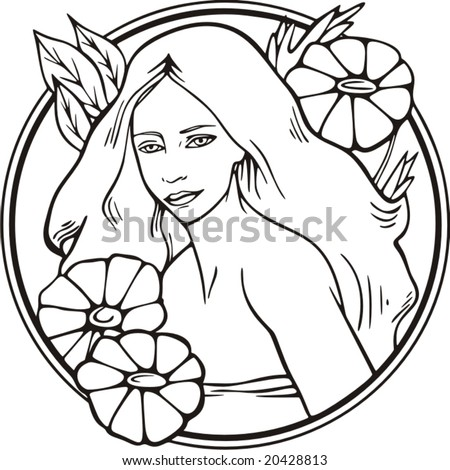 Beautiful woman portrait with floral details, vector series. - stock vector