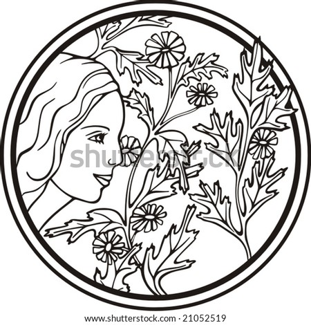 Beautiful woman portrait with flowers, vector series.