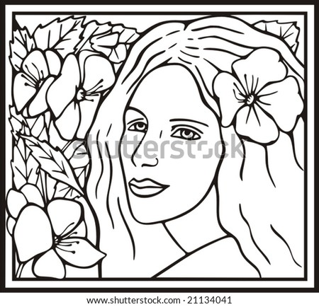 Beautiful woman portrait with flowers, vector series. - stock vector