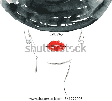 Beautiful woman portrait with hat. abstract vector fashion illustration - stock vector