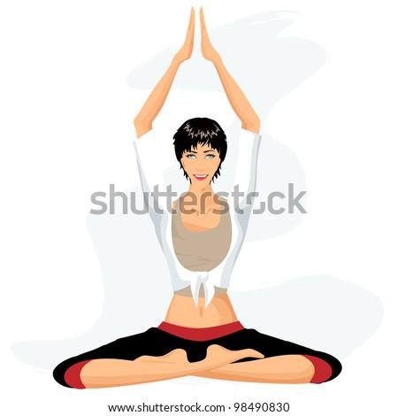 Beautiful woman practicing yoga in lotus posture (Padmasana) - stock vector