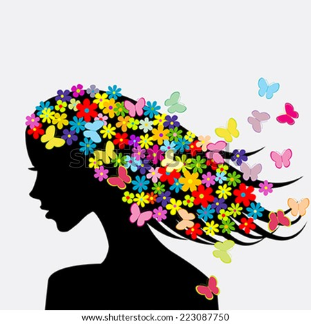 Beautiful woman profile silhouette with flowers and butterflies in her hair