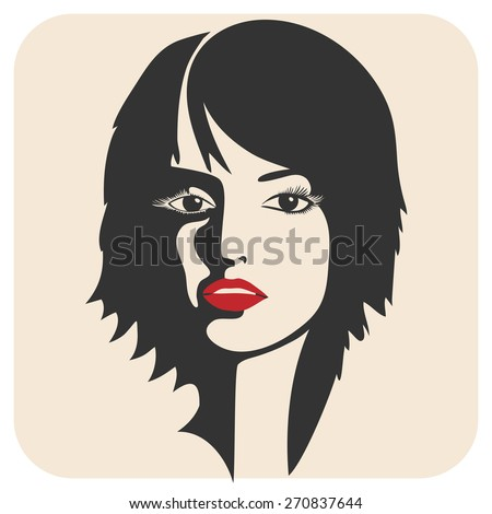 Beautiful woman's face. Ink drawing. Sketch. - stock vector
