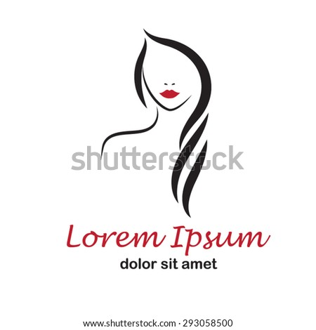 Beautiful woman's face on white background.  Beauty  logo template.  fashion model vector illustration. Card for hair and beauty salon. Girl face Logo. - stock vector