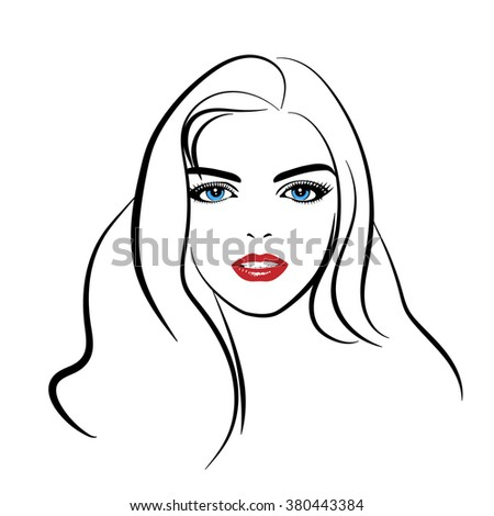 Beautiful woman's face.  Simple lines. Sketch.