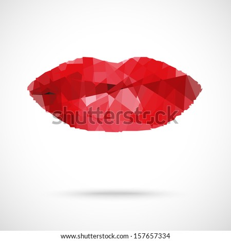 Beautiful woman's  lips formed by abstract blots - stock vector