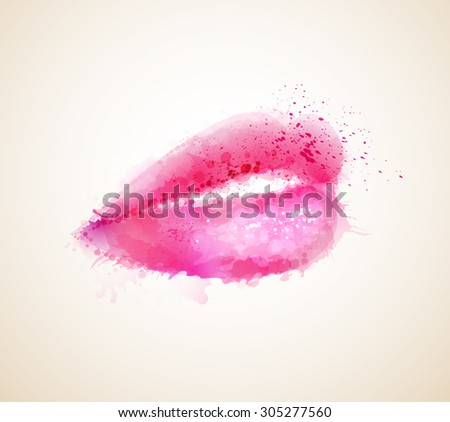 Beautiful woman shine pink lips formed by abstract blots - stock vector