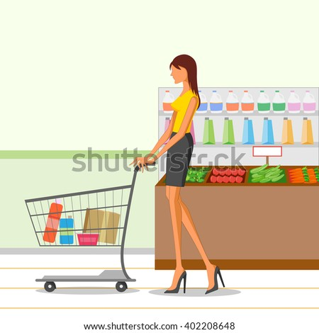 Beautiful woman shopping grocery. Vector illustration