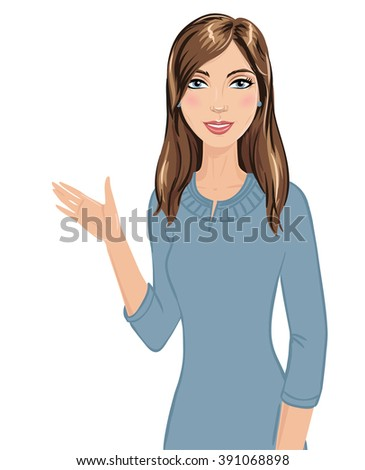 Beautiful woman shows something with her right hand. Pretty woman wearing blue-gray dress making presentation. Elegant business lady isolated on white background. - stock vector