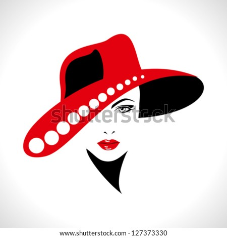 Beautiful woman silhouette - stock vector