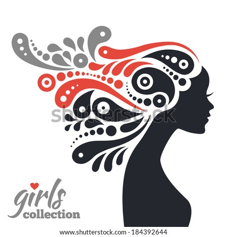 Beautiful woman silhouette with flowers. Girls collection - stock vector