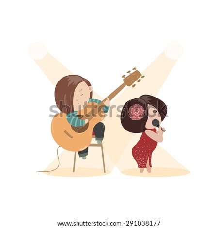 Beautiful woman singing with a microphone and guitarist. Vector isolated illustration