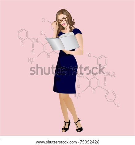 beautiful woman spectacled stands and holds a book - stock vector
