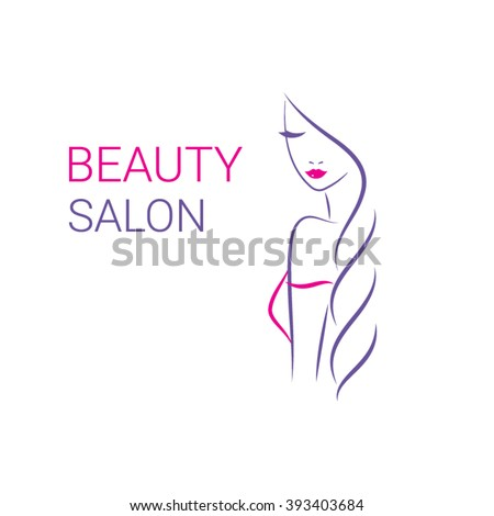 Beautiful woman vector logo template for hair or  beauty salon, cosmetic procedures, spa center. Fashion model. - stock vector