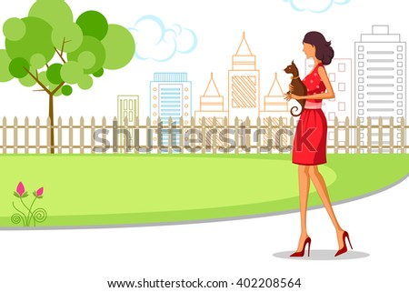 Beautiful woman walking with cat. Vector illustration