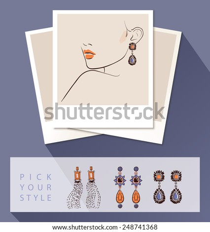 Beautiful woman wearing earrings. Mock up with different styles of earrings. Vector illustration eps 10 - stock vector