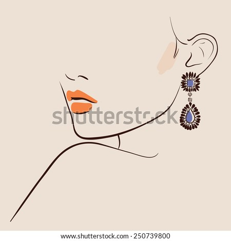Earring Stock Photos, Images, & Pictures | Shutterstock Woman Ear Sketch