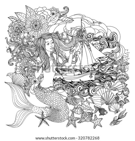 Beautiful woman with abstract hair and  design elements of seashells, starfish, seaweed, flowers as a mermaid and sailboat on clouds and waves, for coloring book.  Black and white, zentangle style. - stock vector