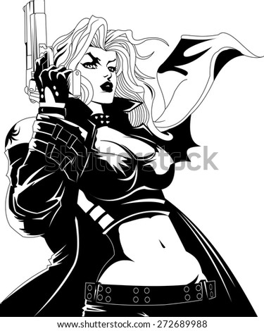 beautiful woman with big black gun, vector - stock vector
