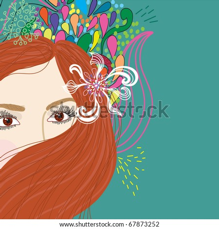 beautiful woman with cartoon flowers. background - stock vector