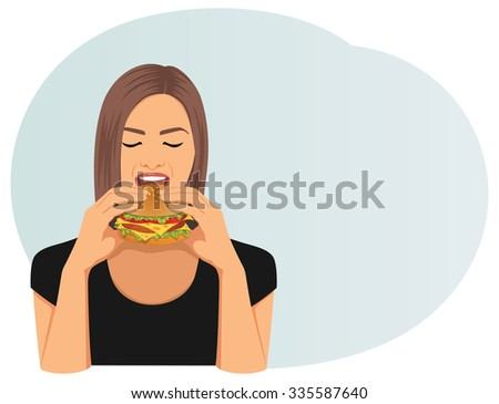 Beautiful woman with closed eyes is eating a cheeseburger. Fastfood. - stock vector