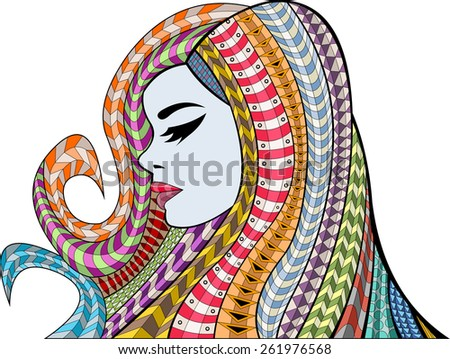 Beautiful woman with colorful hair. Exotic girl. - stock vector