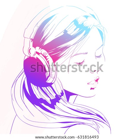 Beautiful Woman Headphones Sketch Vector Illustration Stock Vector ...