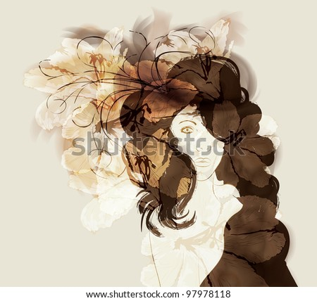 Beautiful woman with long flowing hair hand drawn fashion illustration - stock vector