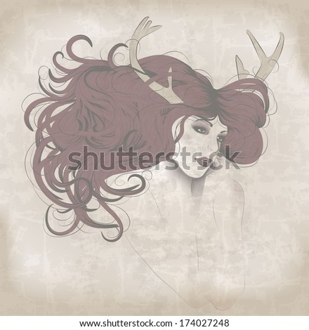 Beautiful woman with long hair and antlers - stock vector
