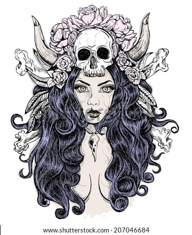 Beautiful woman with long hair and horns, rose, skull - stock vector
