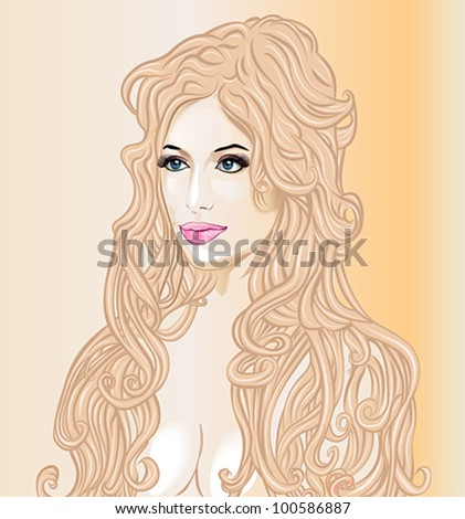 beautiful woman with long wavy hair