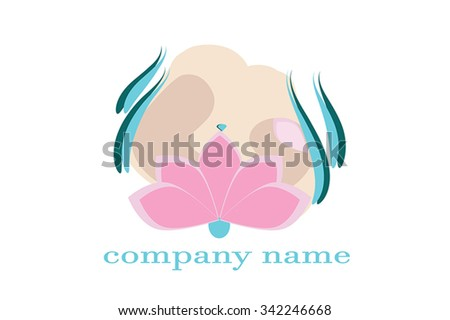 Beautiful woman with pink lotus flower on her hips - woman beauty and health symbol. Vector illustration of woman hips with flower and lines as leafs. As logo element, for spa, beauty salon branding. - stock vector