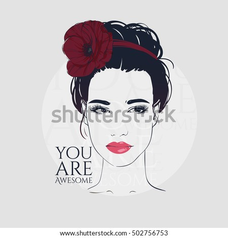Beautiful woman with retro hairstyle beam and poppy, hand drawn line vector fashion illustration.