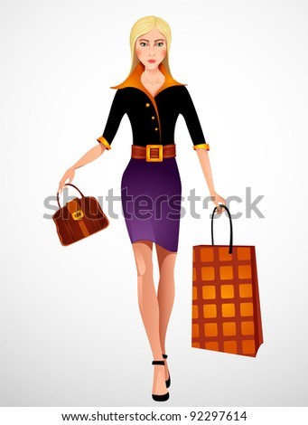 Beautiful woman with shopping bag