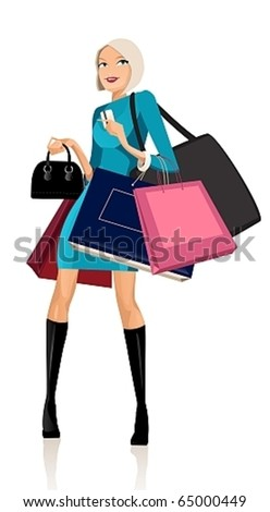 Beautiful woman with shopping bags and credit cards - stock vector