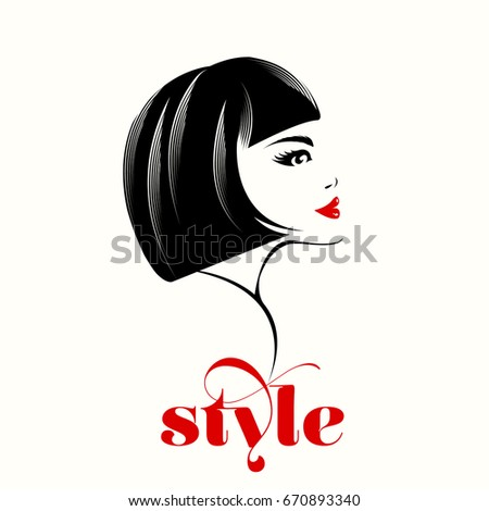 Beautiful Woman With Short, Retro Haircut And Nice Makeup.Beauty And Style  Vector Icon