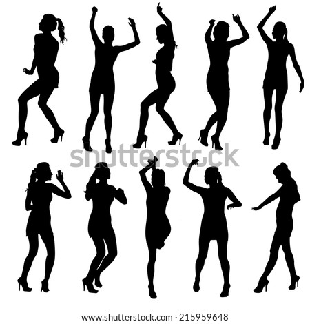 Beautiful women dancing silhouette isolated. Vector illustration - stock vector
