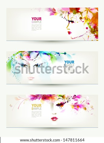 Beautiful women faces on three headers - stock vector