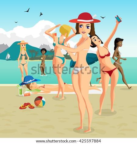 Beautiful women in bikini at the seaside. Group of women bathing and sunning on the beach. Vector flat cartoon illustration people sunbathing on the beach - stock vector