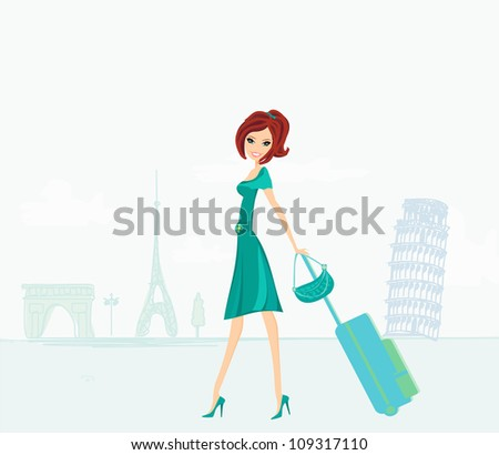beautiful women Shopping in France and Italy - stock vector