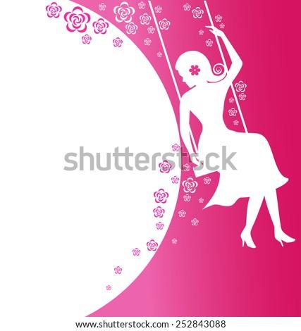 Beautiful women sit on flower swing on pink background