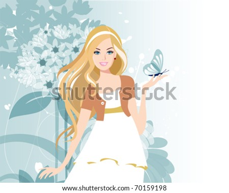 Beautiful women with flowers. All elements and textures are individual objects. Vector illustration scale to any size.