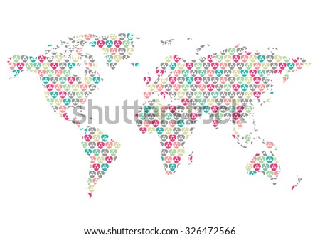 Beautiful world map pattern wall sticker stock vector 326472566 beautiful world map with pattern wall sticker retro colors easy to change colors gumiabroncs Image collections