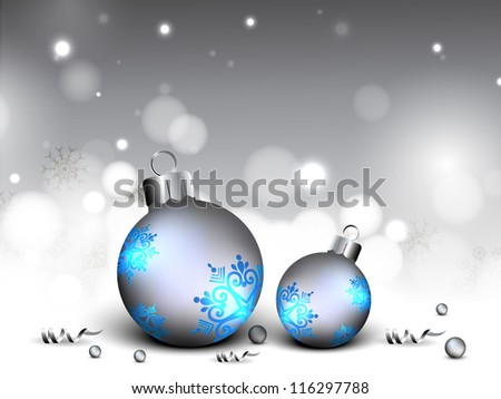 Beautiful Xmas balls decorated with stars on snowflakes background for Merry Christmas celebration. EPS 10. - stock vector