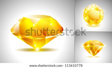 Beautiful yellow diamond (vector set) - stock vector
