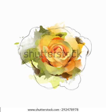 Beautiful yellow rose, with elements of the sketch, watercolor, can be used as greeting card, wedding invitation, birthday and other celebration or a summer background. Vector . - stock vector
