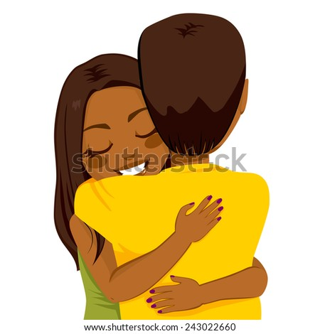 Beautiful young African American woman hugging man with tender love and passion - stock vector