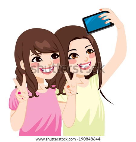 Beautiful young asian japanese friends taking selfie photo together with mobile phone camera - stock vector